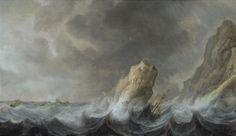 Kustscène met een schip gevangen in stormachtige zeeën, toegewezen aan Jan Porcellis
