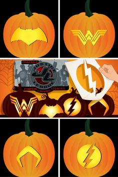 Assemble your very own Justice League with these free pumpkin carving templates!