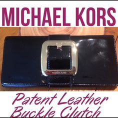 ⬇️SALE⬇️ Michael Kors Patent Leather Buckle Clutch Gorgeous Michael Kors Patent Leather Buckle Clutch. Black patent leather with Gold Buckle accent. Used once. Has a couple tiny scuffs but not noticeable. Inside is immaculate. Excellent condition. Michael Kors Bags Clutches & Wristlets