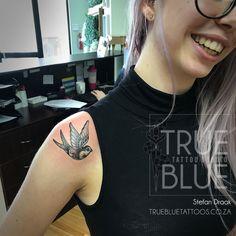 Traditional Swallow by the Draak Professional Tattoo, Skin Art, Swallow, Tattoo Studio, Drake, Traditional, Tattoos, Blue, Tatuajes