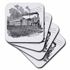 3dRose cst_47894_1 Antique Steam Train Sketch Soft Coasters Set of 4 >>> Want to know more, click on the image. (This is an affiliate link)