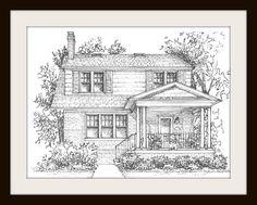 Affordable Art Ideas - Custom Home Portraits - ELLE DECOR