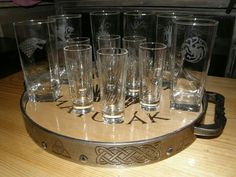 Tray with glass cups Game of Thrones our hand made
