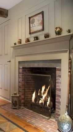 Colonial Home - Painted wood mantelpiece. - April 28 2019 at Primitive Fireplace, Primitive Homes, Farmhouse Fireplace, Farmhouse Decor, Fireplace Surrounds, Fireplace Design, Fireplace Ideas, Fireplace Mantels, Colonial Home Decor