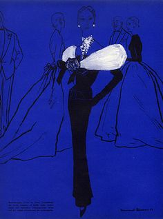 Cristóbal Balenciaga 1953 Blossac, Evening Gown Fashion Illustration