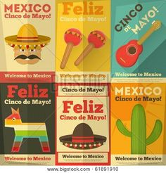 Picture or Photo of Mexican Posters in Retro Style. Cinco de Mayo. Vector Illustration.