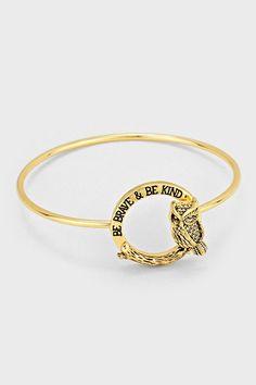 Engraved Owl Bracelet in Gold on Emma Stine Limited