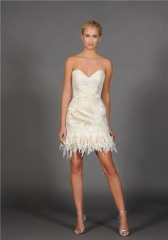 Strapless sweetheart mini with lace and brocade fringe