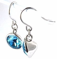 Aquamarine Round Dangle Drop Silver Tone Solitaire Earrings Swarovski Crystals…