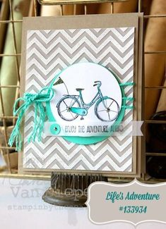 Stampin' Up! - Scrapbooking and Design Software - chevron background for bicycle stamp.