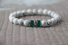 A personal favourite from my Etsy shop https://www.etsy.com/listing/565176257/howlite-yoga-bracelet-swarovski-beads
