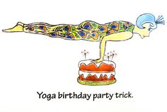 Yoga Birthday Card - Say Happy Birthday with a smile.  Just right for yoga lovers!