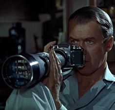 James Stewart in Rear Window (Hitchcock, 1954)