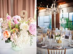 Pink + Glitter wedding centerpieces and table decor | Ruffled