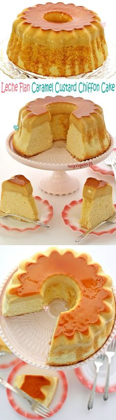 Luscious leche flan aka caramel custard on a light and fluffy chiffon cake is a unique and delicious cake that gives you the best of both worlds. Custard Desserts, Just Desserts, Delicious Desserts, Custard Cake, Baking Recipes, Cake Recipes, Steak Recipes, Chocoflan Recipe, Flan Cake