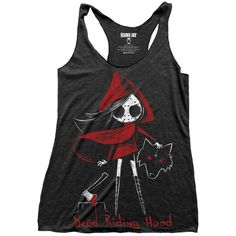 DEAD RIDING HOOD LOOSE TANK TOP (£21) ❤ liked on Polyvore featuring tops, shirts, tank tops, tanks, loose fitting tops, loose tops, loose fit shirt, shirt tops and loose shirts