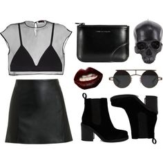 goth much? by baludna on Polyvore featuring мода, Fendi, T By Alexander Wang, Proenza Schouler, ASOS, Comme des Garçons, Manic Panic and D.L. & Co.