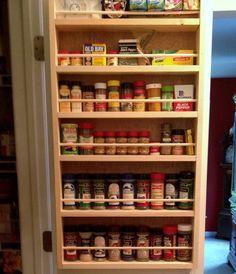 Door mounted spice rack in 2019 kitchen organization alacena Spice Rack On Pantry Door, Kitchen Spice Racks, Diy Kitchen Storage, Kitchen Pantry, Kitchen Ideas, Kitchen Cabinets, Pantry Doors, Pantry Ideas, Spice Racks For Cabinets