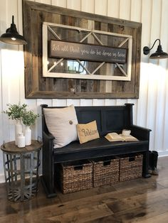 Tried my hand at distressing a black painted pew. Same design I always build, just different color. Home Living Room, Living Room Decor, Bedroom Decor, Breezeway, Barndominium, Foyers, My New Room, Mudroom, Rustic Farmhouse