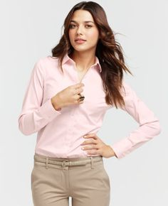 Khakis and a colorful button-up shirt are great for business casual