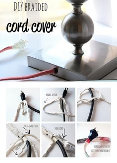 Braided Cord Cover:  You'll need:  - 1 skeen of yarn  - an extension cord or cord of an electric item  - tweezers