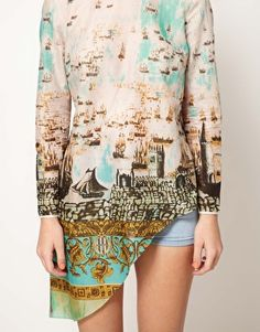 Asymmetric Top With Scenic Print