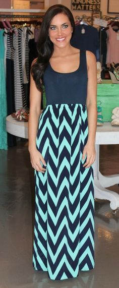 Dottie Couture Boutique - Tank Chevron Dress- Navy/Mint, $49.00 (http://www.dottiecouture.com/copy-of-tank-chevron-dress-navy/)