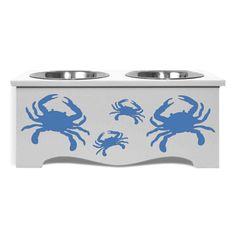 Blue Crab Double Dog Feeder