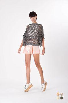 Wool blend top with hand woven laser cut details - OCHEBOUTIQUE