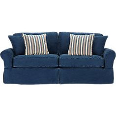 Whether your home is coastal or in the city, the Beachside sofa brings you the casual comfort of a resort hideaway. Washed denim slipcovers cover comfortable cushions and will wear over time like a favorite pair of jeans. Arms and back are fully padded for added comfort. Sofa includes a pair of matching denim toss pillows as well as a pair of contrasting blue striped accent pillows.  100% Cotton