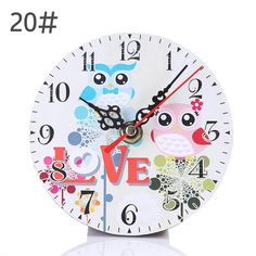 Modern Design MDF Wooden Wall Clock Vintage Rustic Shabby Chic Home Cafe Decoration Desk Clock Shabby Chic Rustique, Rustic Shabby Chic, Shabby Chic Homes, Unique Wall Clocks, Unique Wall Art, Home Wall Art, Wall Art Decor, Wholesale Craft Supplies, Clock For Kids