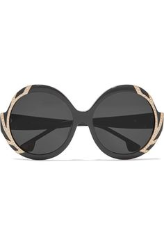 Black acetate, gold-tone stainless steel   100% UV protection Made in Italy