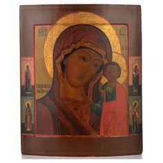 Icono Ruso antiguo Virgen de Kazan mitad del XIX, 53,3 x 46 cm   venta online en HOLYART