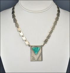 Silver Chrome German Art Deco Necklace Green Glass Art by boylerpf, $125.00