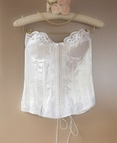 Delightfully feminine sexy 'Buckholz' glossy ivory nylon satin and embroidered lace boned lace up torsolette bustier basque . Feminine Style, Feminine Fashion, Fashion Videos, Embroidered Lace, 1980s, Ivory, Lace Up, Satin, Sexy