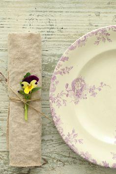 antique french lavender transferware plates