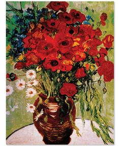 """'Daisies & Poppies' by Vincent van Gogh 24"""" x 32"""" Canvas Print"""