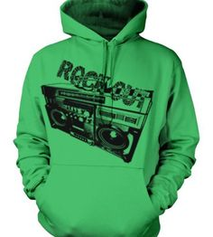 Rock Out Boombox Mens Sweatshirt Funky Trendy Fresh Radio Rock and Roll Design Pullover Hoodie Small Kelly
