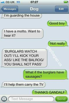 #Funny Text About Dog vs. Burglars