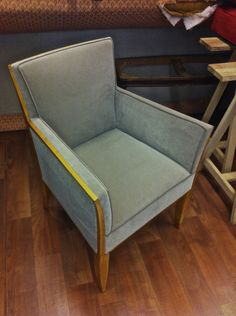 Dominique Arm Chair in Sycamore Covered in Taupe Velvet