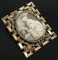 Antique 9ct Gold Shell Cameo Brooch of Hebe I don't like the frame but the cameo is beautiful