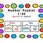 Number Puzzles in Spanish and English (1-20) Students have to match the numbers with the number words and the ten frames. Spanish version is in red...