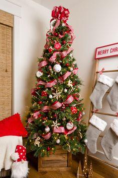 Christmas Tree Ribbon and Tree Topper Bow Ribbon On Christmas Tree, Christmas Music, Christmas Tree Toppers, Diy Christmas Ornaments, Simple Christmas, Handmade Christmas, Christmas Tree Decorations, Christmas Stockings, Tree Topper Bow