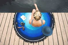A moment of peace brought to you by our Blue Lagoon Round Towel.