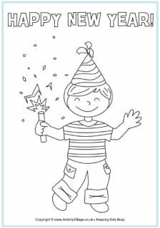 Happy New Year colouring page - boy