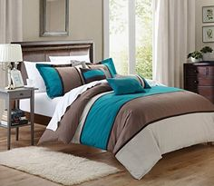 7 Pieces Luxury Micro Suede Turquoise Blue, Grey and Brown Comforter Set