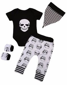 Baby 4 Piece Set Short Sleeve Bodysuit Pants Matching Hat Matching Scratch Mittens Free Shipping! Please allow 2-4 weeks for delivery.