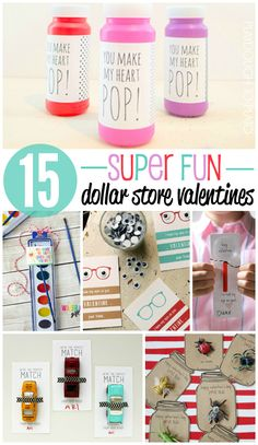 Lots of great ideas for class valentines. Dekorationen für Tische kostenlos Ausdrucke 15 Super Fun Dollar Store Valentines - Playdough To Plato Kinder Valentines, My Funny Valentine, Valentines Day Activities, Homemade Valentines, Valentines Day Party, Valentine Day Crafts, Valentine Ideas, Valentine Box, Valentine Gifts For Kids