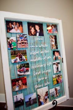 To write on old window, use paint pen on front. If you want a certain font, print it off the size you want, tape it to back of window and trace it with the paint pen. Use double stick tape in corners to hold pics on back of window. Then tape scrapbook paper on back.
