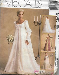 5922e6c44ba3 McCall's 2645 Alicyn Exclusives Renaissance Era Bridal Gown And Costume  Pattern, Sizes 8-12 & 20-24, UNCUT